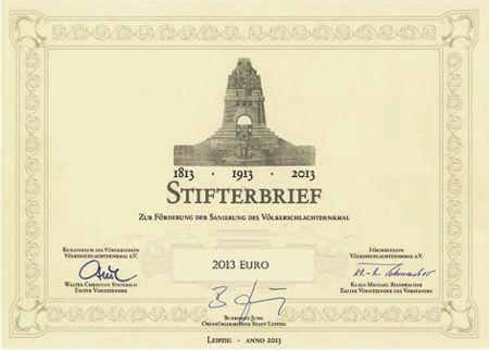Stifterbrief Völkerschlachtdenkmal 2013